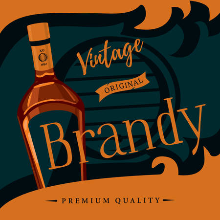 distilled: Old style brandy or brandywine poster. Vintage or retro advertising of spirit distilled from wine or pomace, mash. Glassware bottle of cognac or armagnac. For bar or restaurant theme