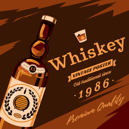 Whisky or whiskey glassware bottle with grains on sticker and premium quality text retro or vintage, old style poster. Alcohol beverage or booze for bar and restaurant theme