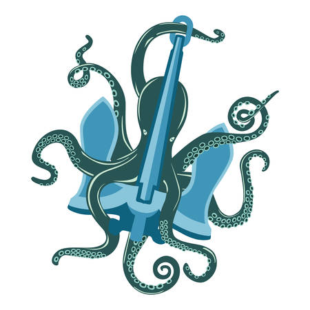 Blue cartoon octopus with suction cups and curvy arms around ocean anchor. Underwater mollusk and spineless cuttlefish, sea cephalopod and nautical squid with feeding tentacles. For tattoo theme Ilustrace