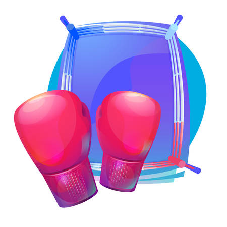 professional equipment: Boxing protective gloves on top of ring with corners. Combat and martial arts, professional and amatuer sport equipment or gear. Can be used for tournament and championship theme