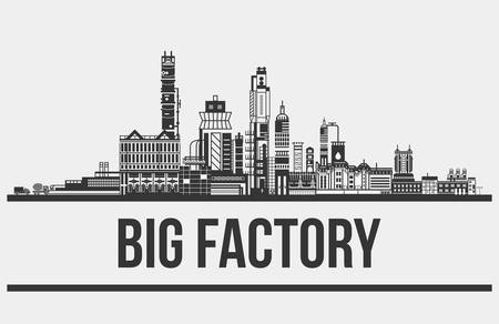 silhouette contour: Contour of plant or factory, manufactory or works outdoor view. Silhouette of concrete works exterior with mixer and truck, chimneys and pipelines. Good for building or standardization themes Illustration