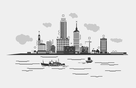 Outline panorama of a metropolis or city with sea or river, ships in front. Silhouette cityscape with clouds and trees, bus and crane, man near lamp on bus stop and skyscrapers. Illustration