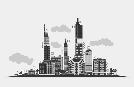 urban area: Silhouette for urban area of city. Panorama outline of skyscrapers and clouds, lorry or trucks under lamp and trees, trailer and antennas on roof. Exterior of black residential buildings or houses