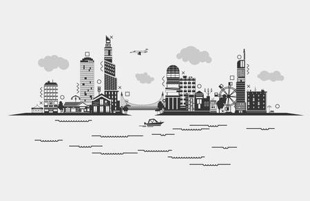 populated: Black contoured buildings of a city on sea or river with boat, sky with clouds and airplane, bridge with car and ferris wheel. Panorama silhouette of skyscrapers at densely populated district of municipality