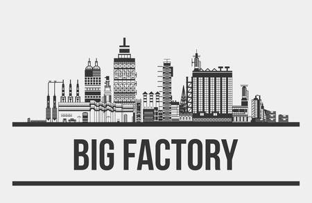 assembly line: Big factory or plant, manufactory or works exterior. Outline of chimneys and cars,lamp and pipelines. Facade silhouette of assembly line. Can be used for pollution and standardization,technology theme Illustration