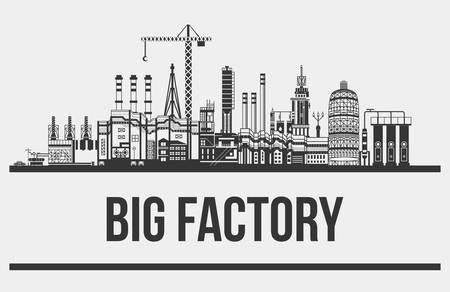 conveyors: Silhouette of huge plant or factory, manufactory line. Contour of crane with hook and conveyors, cars and chimneys, pipelines. May be used for technology or industrial, refinery production theme