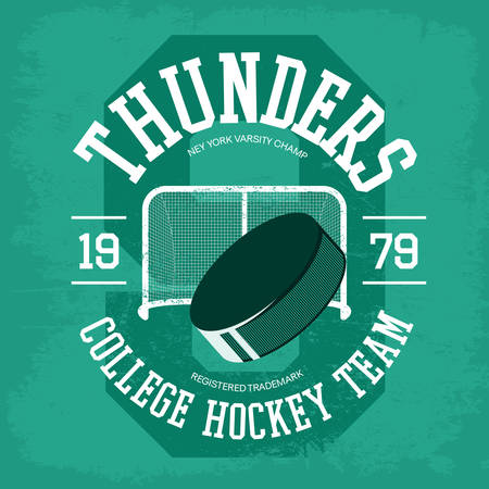 hockey goal: Puck for ice hockey in front of goal for college and university Illustration