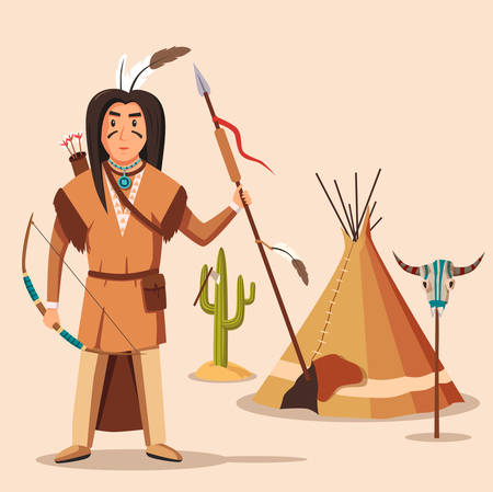 longbow: American or indigenous, aboriginal indians with bow or longbow and arrows, spear and feather on head. Native american axe or tomahawk in cactus, wigwam or tent near bull or buffalo skull