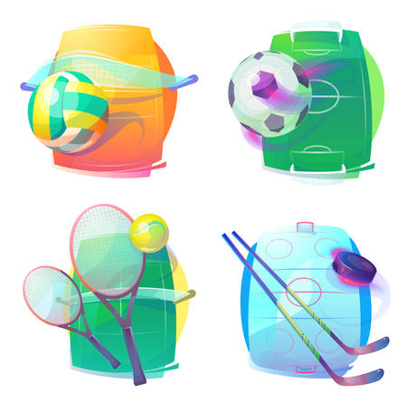 bleak: Hockey and tennis, volleyball and soccer gear icons. Ice hockey and tennis, volleyball and soccer or football accessories or gear. Illustration