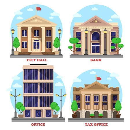 Bank with dollar currency sign and skyscraper office, national city hall with flag and tax revenue building or house with bushes and trees. Municipal city, government constructions facade exteriors.