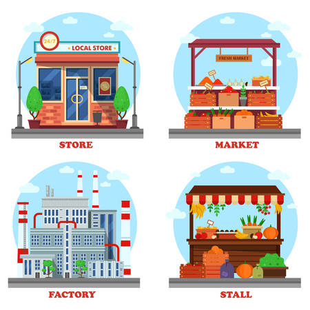 outdoor goods: Local store or shop, market and stall with goods or counter for groceries, factory or plant with chimney and pipes. Outdoor exteriors of business buildings and trading constructions.
