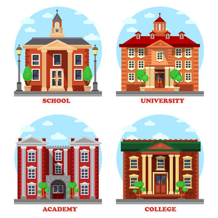 undergraduate: School and university, academy and college buildings. Educational architecture constructions for national science with bell and tower, lamp and columns. Can be used for pedagogics and study theme