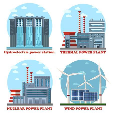 electricidad industrial: Estaciones de edificios o plantas de energía de la fábrica. Planta de agua y de energía hidroeléctrica, térmica de electricidad industrial y la energía nuclear y atómica, eólica y solar ejemplo de eco y el suministro sostenible