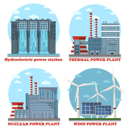Plant or factory energy stations buildings. Water power plant and hydroelectricity, industrial thermal electricity and nuclear and atomic power, wind and solar example of eco and sustainable supply