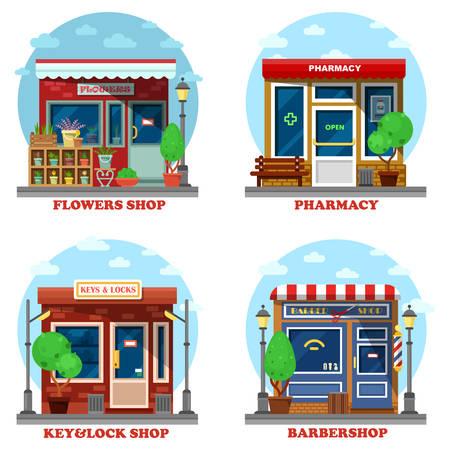panorama view: Facade of shop and stores outdoor exterior. Flower business and pharmacy or drugstore, lock and key repair and creating, barbershop with scissor for shaving and haircut. Good for urban panorama view