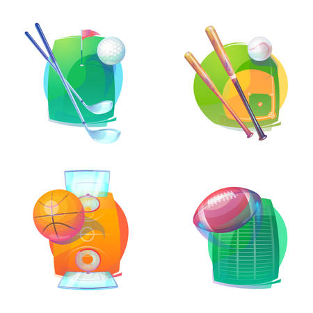 bleak: Basketball and baseball, golf, rugby accessories icons. Basketball and baseball, golf and rugby accessories.