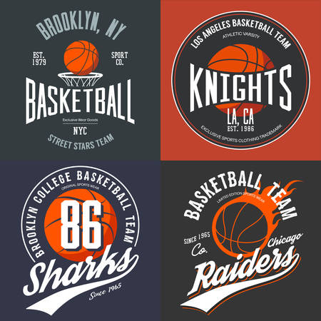 brooklyn: T-shirt design for basketball fans for usa new york brooklyn street team, knights college team and chicago raiders with balls emblems. Illustration