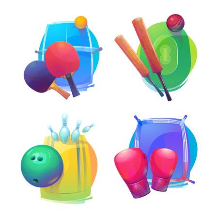 bleak: Tennis and cricket, bowling and boxing equipment icons. Tennis and cricket, bowling and boxing sport equipment or gear.