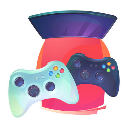 joypad: Video games with joystick and TV plasma. Joypad or controller, plastic pad for console entertainment and home leisure accessory. Regular teenager hobby and technology electronic activity Illustration