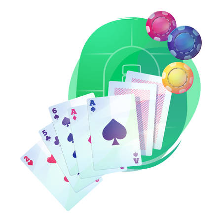 Texas hold em poker game cards and chips over casino or pub table. Aces up for omaha hi-low, stud and razz, straight or community draw variations. Good for money betting and gambling addiction theme Illustration