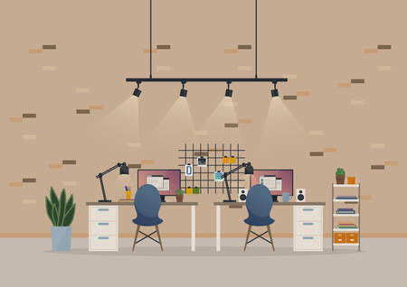 basement: Office open space cabinet or basement work room with furniture like chairs and table, monitor with report windows and loudspeakers, stickers on brick wall and books with vase on rack, lamps and cup.