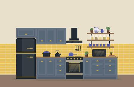 Cucina Camera per interni cottura degli alimenti con stufa o forno, fornelli a gas e frigorifero o frigorifero, portaspezie con barattoli e brocca, spatola e cucchiaio intero, bollitore o teiera e cappa di aspirazione, pan