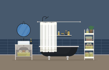shower room: Bathroom interior, home room for hygiene. Sink with faucet and mirror, bathroom with shower head and valve, hand and body towel and gel, washbasin with shampoo and soap, lotion and deodorant