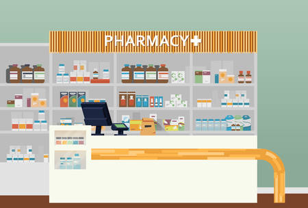 lozenge: Medical pharmacy or drugstore interior design. Chemist or apothecary, dispensary and clinical, ambulatory or community shop for pills or tablets, lozenge in flasks. Medicine and healthcare theme Illustration