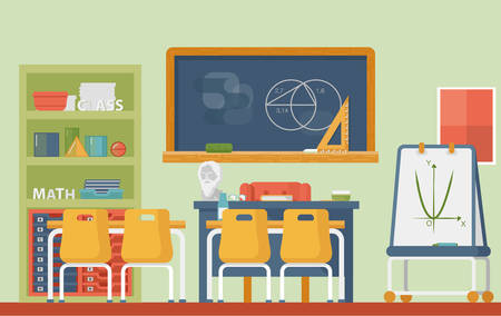 school classroom: Mathematic, geometry school classroom interior. Lesson of euclid or axiomatic, practical geometry with circles and sphere, cylinder and blackboard with chalk, plato and archimedes bust. Illustration