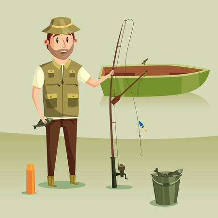 crucian: Fisherman with catch of crucian in bucket, rod or spinning with reel and angle or hook, float or bobber. Fishing boat with paddle or oar on river or lake. Image of active leisure or hobby, relaxation