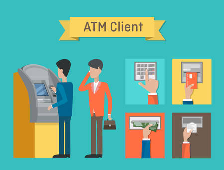 cashpoint: ATM or automated teller or cash machine clients. Cashline or cashpoint,bankomat or minibank used by people who using dollar cash or plastic credit cards for financial transactions at interbank network Illustration