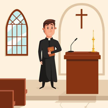 religion catolica: Cristiano cura católico predica en la iglesia. santo padre en bata o pastor con el collar, papa con la biblia y clérigo en la liturgia, misión espiritual. Puede ser utilizado para la religión o iglesia tema
