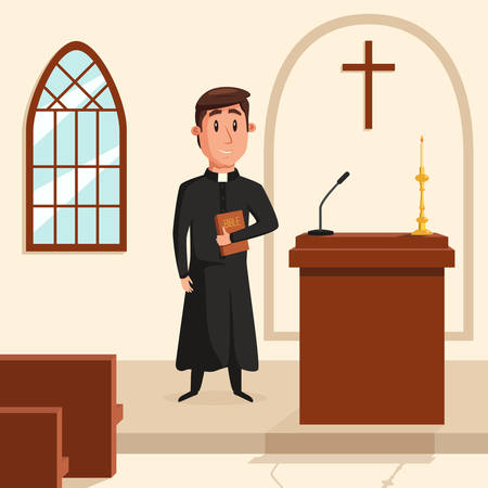 Christian catholic priest preaching at church. Holy father in robe or pastor with collar, pope with bible and clergyman at liturgy, spiritual missionary. Can be used for religion or church theme Illustration
