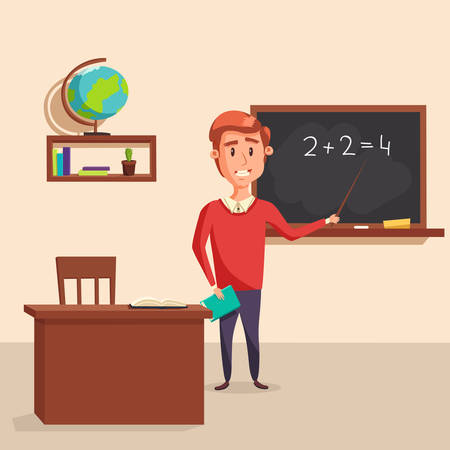 arithmetic: Mathematics teacher with pointer in blackboard with chalk showing arithmetic number calculation. Books and globe on shelf behind table with class journal. Good for educational and lesson theme