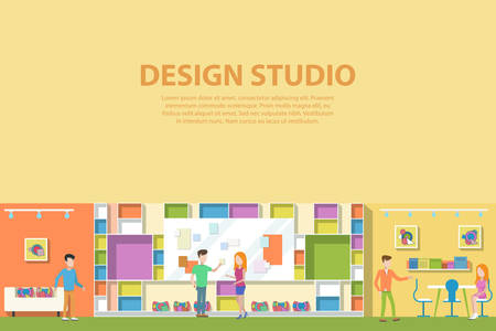 Creative graphic studio design interior. Creative artist corporate advertising agency making web paints or advertisements. Workplace or workspace with man and woman talking about concept ideas. Illustration