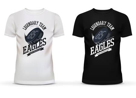 legendary: Legendary university hockey team with puck on t-shirt. Eagles team limited exclusive edition of clothing or sportswear. May be used for shops and sport league fan wear, printing template theme