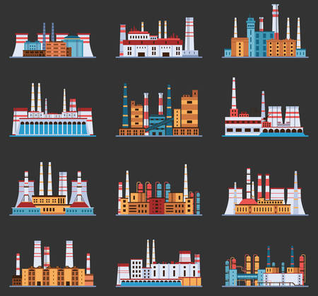 energy production: Industrial plant and factory with chimney set of icons in cartoon style. Hydro, nuclear, thermal, chemical, petrochemical dirty and heavy energy production from fuel polluting nature and environment.