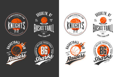 Balls for game of basketball in dark and light style. Prints for sportswear and exclusive t-shirt, sport equipment or gear, streetball logotype and basket logo for new york or los angeles college team