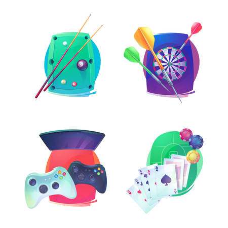 bleak: Billiard and darts, video game and poker emblem. Indoor sport equipment like throw missiles for arraz and dartboard, joystick with buttons for console and TV,cards with ace and cue with balls on table