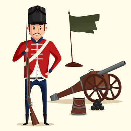 French army soldier with musket near pyramid of cannonballs and flag in ground. Warrior in uniform with rifle. Perfect fit for historical book illustration, revolution and independence theme Ilustração