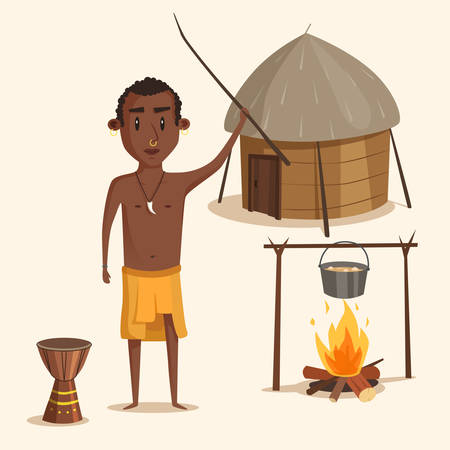 shackle: Indigenous south american or african male. Aborigine with earrings and nose shackle with wood stick near urn and kettle with stew on fire in front of hut.Ideal for history lessons or book illustration Illustration