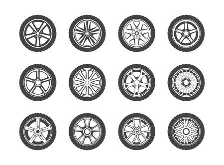 car speed: Wheel, tyre and tire collection of icons. Collection of round shaped rubber automobile or car, speed vehicle. Great for garage and machine shop, automotive and brake theme