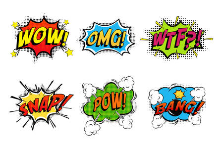 Comics bubbles for emotions and explosions. Exclamations clouds for wow and omg, wtf and snap, bomb bang or boom explosion. Great for cartoon book or danger, pop dialog and burst theme