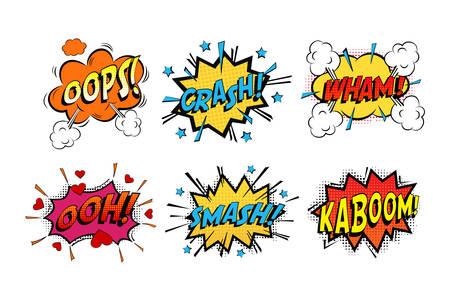 cómics onomatopeya suena en las nubes de emociones y explosión Kaboom. Uy humeante y sonido zas, corazón de manera perfecta y estrellas de la rotura violenta y el dibujo accidente tema de libro
