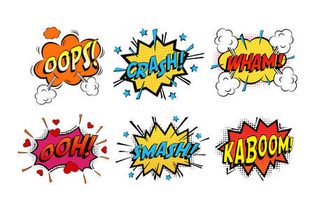 Onomatopoeia comics sounds in clouds for emotions and kaboom explosion. Steaming oops and wham sound, heart for ooh and stars for smash and crash cartoon book theme 일러스트