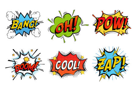 Emotions for comics speech like bang and cool, oh or ooh. Onomatopoeia clouds for explosions like boom, punches - pow, cool with stars and zap with lightning. For cartoons and speak dialogs