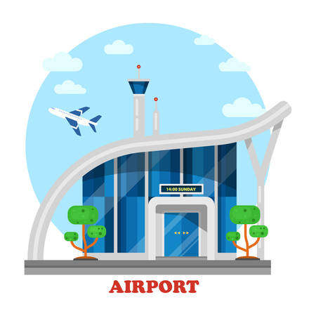 jet airplane: Airport building with flying airplane over tower. Jet or plane, aircraft vehicle in sky with clouds above terminal. Panorama exterior of architecture construction for trips and travels, tourists Illustration