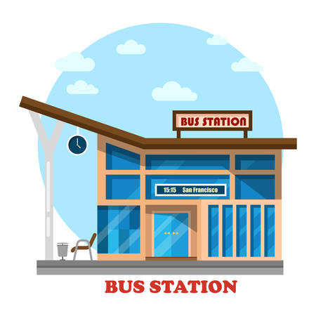 depot: Bus station or depot structure exterior view. Building for travelers by road or passengers with clock on stand platform for arrivals of intercity or city tourists. Architecture of facade