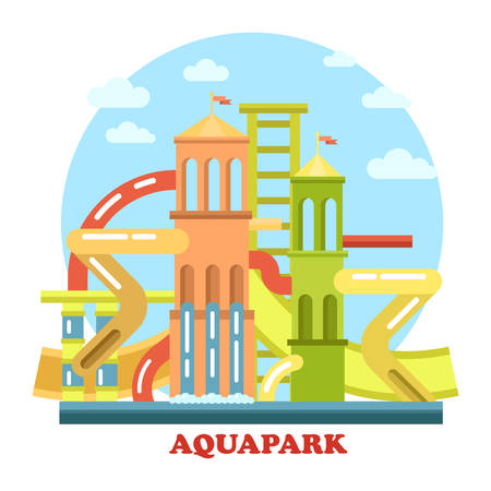panorama view: Aquapark outdoor exterior view panorama. Waterpark with pool and pipes for recreation and leisure, holiday swim for fun and amusement. Perfect for playground and modern construction theme