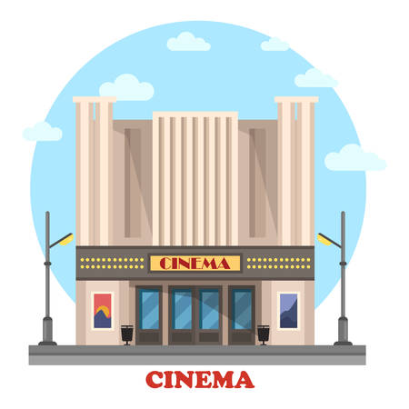 art show: Cinema building for art movies or films. Structure for entertainment and modern construction for leisure. House with lights and posters. Great for relaxation and show, cityscape theme Illustration